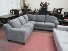 Grey fabric costco corner sofa with button detail, looks in good condition, just has a nick on the