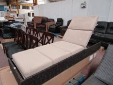 Costco Brown woden Chaise lounger with cushions, used, missing the legs.