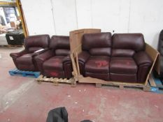 Lazy Boy Oxblood sofa set, includes 2 arm chairs and a 2 seater sofa all have issue with the