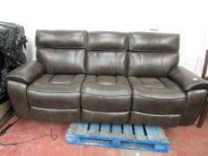 3 Seater Leather Costco Electric reclining sofa, the stitching on one of the end seats has come