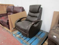 Brown Swivel reclining armchair, missing the sode manual recline arm, RRP at Costco is £349