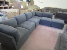 M Star 6 pece sectional charcoal fabric sofa with ottoman storage footstool , in good conditon but