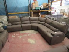 Kuka Brown Mole skin corner 5 piece section sofa with 3 electric reclining seats, all the
