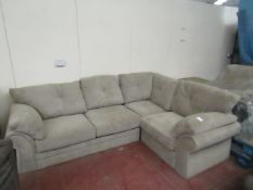 2 Piece 4 seater grey fabric L shaped sofa, requires a clean and does not have any feet but other
