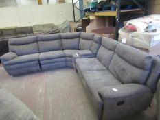 Kuka Grey Mole skin corner 6 piece section sofa with 3 reclining seats and a console insert with