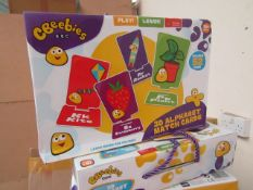 6x Cbeebies 3Dalphabet cards, new and boxed.