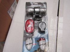 Gear'd LED Bike light set, includes LED front and back lights with front torch and mounts, new