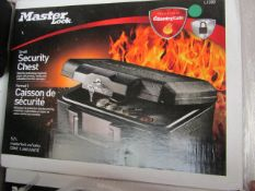 Master Lock 1200 5.2ltr 30 mins fire protection security chest, new and boxed, RRP £43