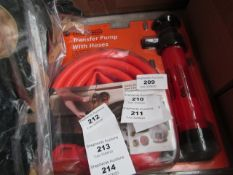 Stag Tools transfer pump with hoses, new and packaged.