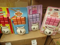 16x Various Swizzels scented wax burners, 4x Drumstick Squashies, 4x Parma Violets, 4x Rainbow Drops