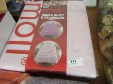 Emoji unicorn single duvet and pillowcase set, new and packaged.