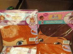 2 x Hooded Towels. 1 Being Sofia The First & The Other Doc McStiffins. Both New & Packaged