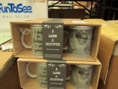 2 Sets of 2 Novelty Mugs. New & Packaged