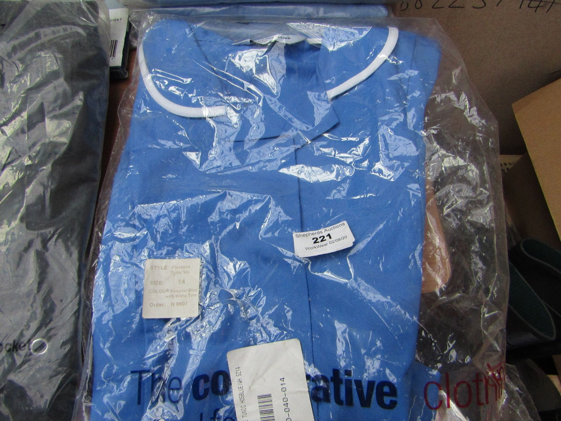 Lot 221 - The Co-op - Florence Tunic (Hospital Blue with white Stripes) Size 14 - Packaged.