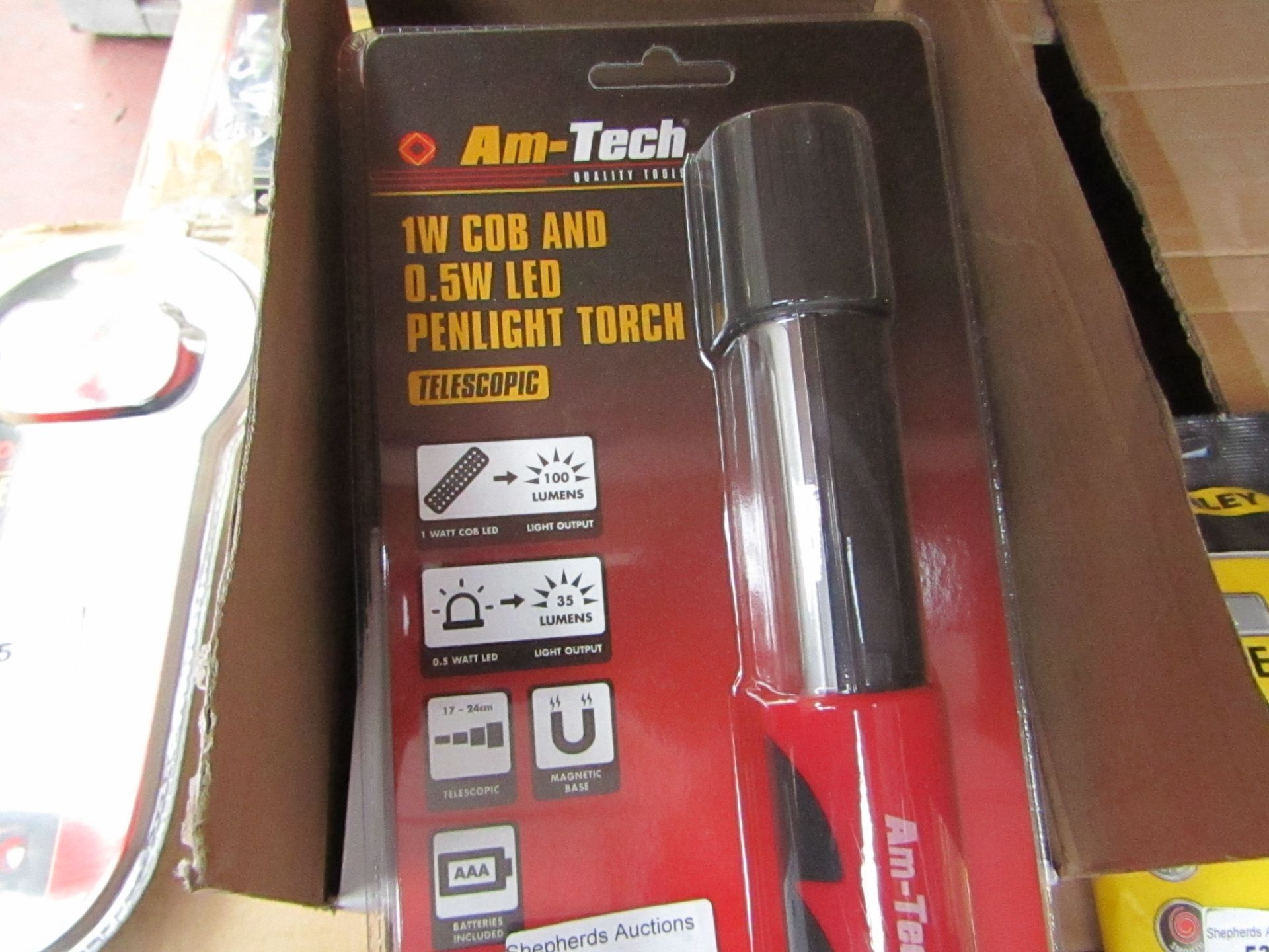 Lot 50 - Am-Tech - 1W Cob & 0.5W LED Penlight Touch - New & Packaged.
