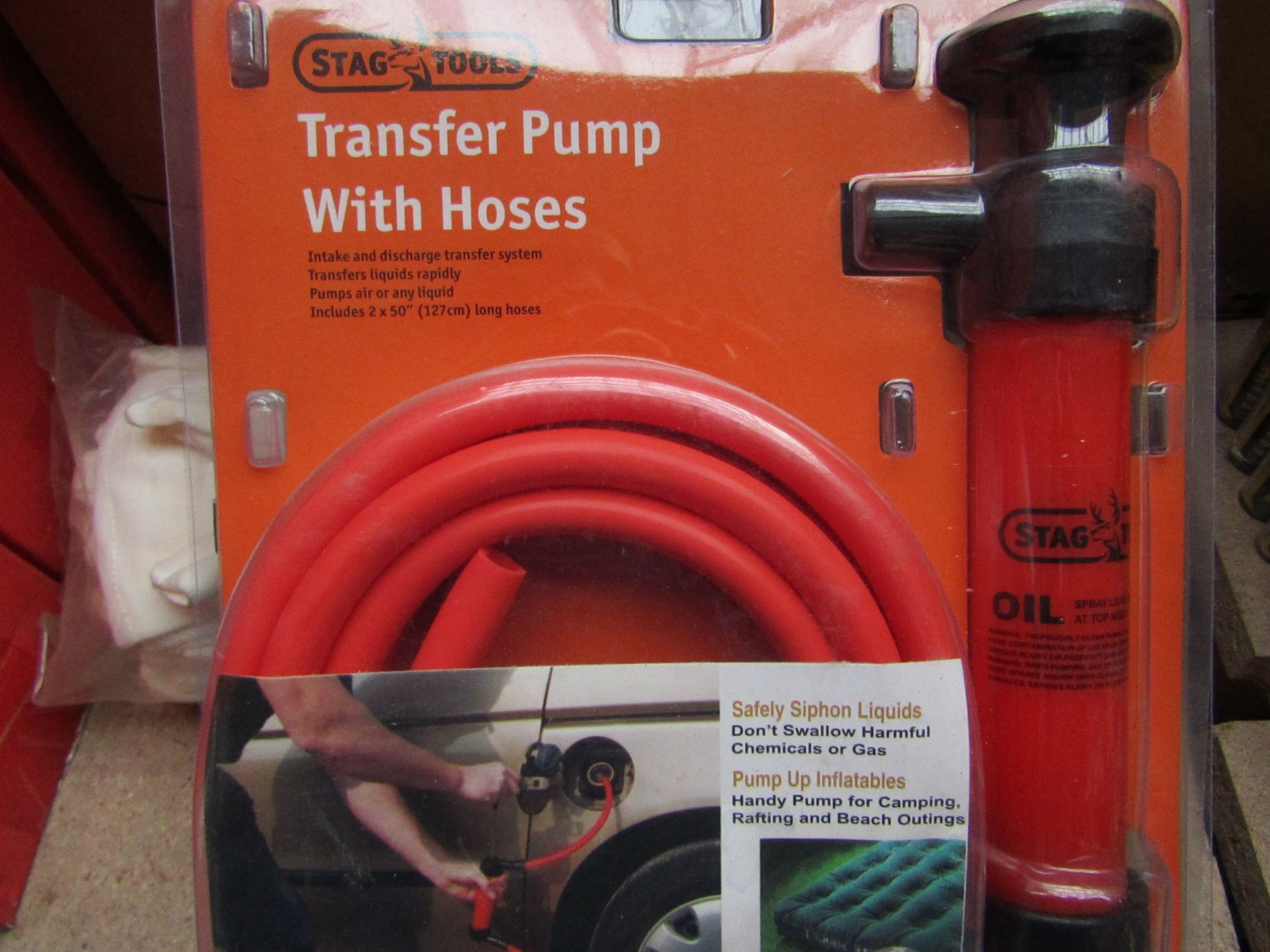 Lot 278 - Stag Tools Transfer pump with hoses, unused, the packaging may be dirty.