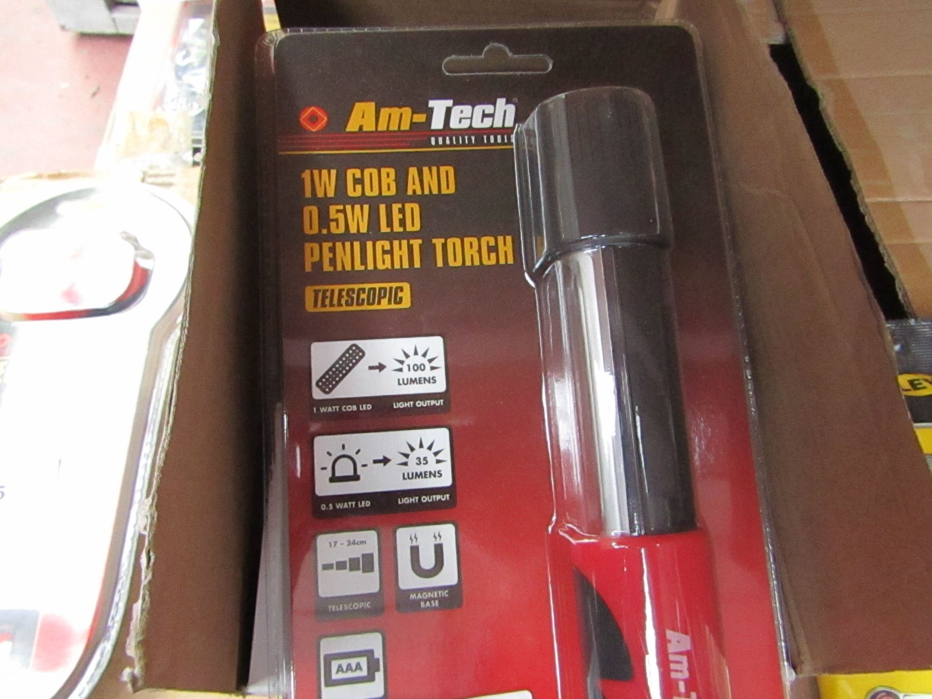 Lot 49 - Am-Tech - 1W Cob & 0.5W LED Penlight Touch - New & Packaged.