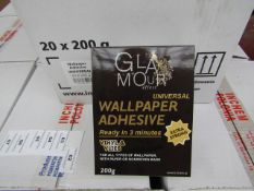 Box of 20x 200g packets of Glamour Effect extra strong Universal wall paper adhesive, new