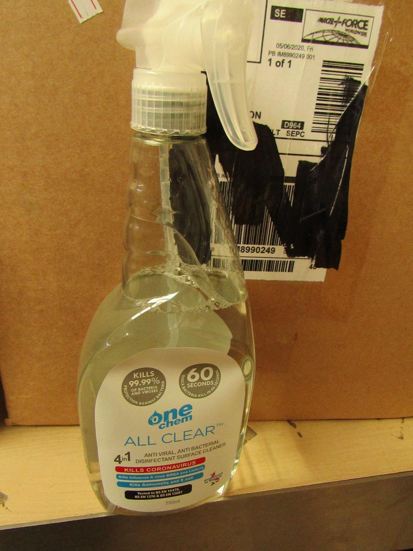 Lot 176 - 5x One Chem - 4-1 Anti Viral, Anti-Bacterial, Disinfectant Surface Cleaner - (750ml)