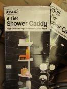 2x Asab - 4 Tier Shower Caddy - Unchecked & Boxed.