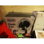 Asab Desk Fan. Boxed but untested