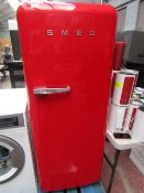 Smeg FAB28QR1 Retro Red fridge tested and working, has a few marks on the side and small mark on the