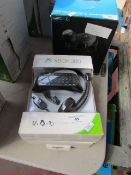 2x XBOX 360 chat pad and headset set, unchecked and boxed.