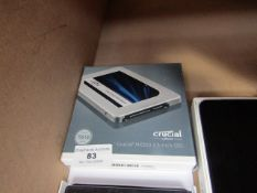 """Crucial 2.5"""" solid state drive, untested and boxed."""