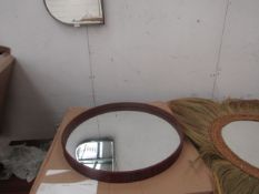 | 1X | LA REDOUTE 60CM WOODEN FRAMED CIRCULAR MIRROR | LOOKS UNUSED AND BOXED | RRP CIRCA £80 |