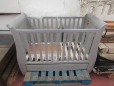 Tutti Bambini Grey wooden cot with drawer, looks in good condition, RRP £249