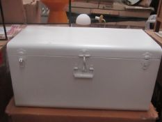 | 1X | AM PM METAL TRUNK | HAS A DENT ON ONE SIDE AND A METAL LOOP ON ONE OF THE CATCHES IS MISSING,