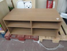 4 compartment shelving unit, slight damage to corners and the side parts that touch the floor.