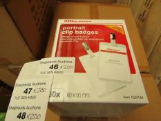 4x Boxes of 50 x Office Depot Portrait Clip Badges. 60mm x 90mm. New & Boxed.