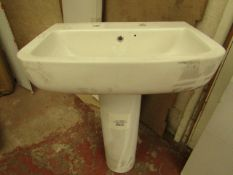 Lecico Senner 2TH 600mm basin with a Caymen full pedestal, new.