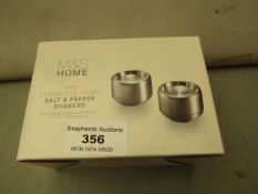 Set of 2 M & S Stainless Steel Salt & pepper Shakers. New & Boxed