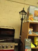 "Solar powered Black Cast Aluminium Outdoor Lamp. 90"" Tall. Comes with bulbs. Untested"