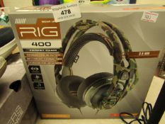 Plantronics Gear Up Rig 400 Forest Camo Headphones RRP £49.99 boxed  unchecked
