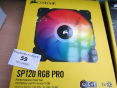 Corsair SP120 RGB Pro Performance PC fan, unchecked and boxed