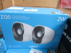 Logitech Z120 set of 2W compact stereo sound speakers, unchecked and boxed