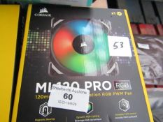 Corsair ML120 RGB Pro Performance PC fan, unchecked and boxed