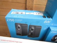 Logitech Z150 set of 6W clear stereo sound speakers, unchecked and boxed