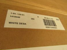 White Top Desk with Beech Wood Legs Desk. 96cm x 53cm. Boxed & Looks Complete