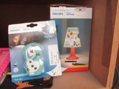 2x Various Items Being: 1x Philips - Mickey Mouse Desk Light - Untested & Boxed. 1x Philips - Frozen