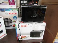 Bosch - Styline 2 Slot Black Toaster - Item Powers On. RRP CIRCA £59.99.