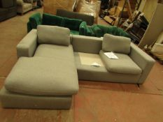 |1X | SEATTLE GREY WOOL CORNER SOFA | MISSING A SEAT AND BACK CUSHION, FRAME HAS SLIGHT DAMAGE AND