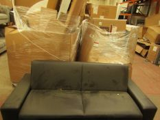 2 seater sofa bed, the back drops down to form a sofa, the back mechanism functions as it should and