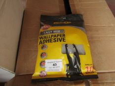 6x Bags of Stanley Easy mix wall paper adehsive, each bag hangs up to 10 rolls, new