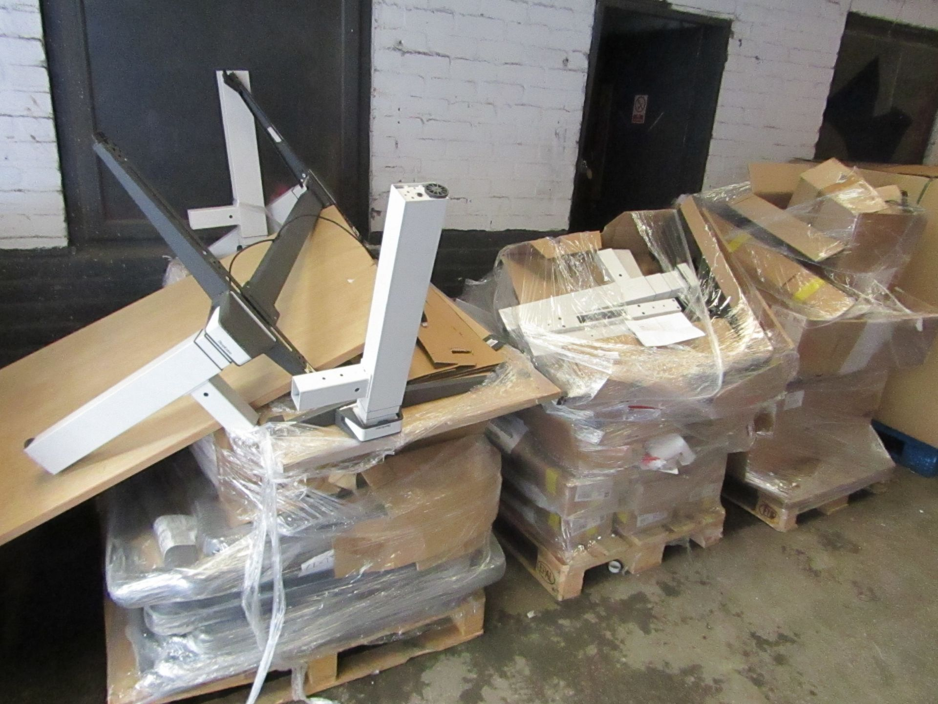 | 3X | PALLETS OF STEEL CASE HEIGHT ADJUSTABLE WORK STATIONS, ALL BER CUSTOMER RETURNS AND UNCHECKED