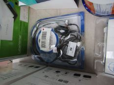 JPL mono headset with direct plug, unchecked and packaged.