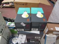 Hive hub and 2 pack of bulbs starter set, unchecked and boxed.